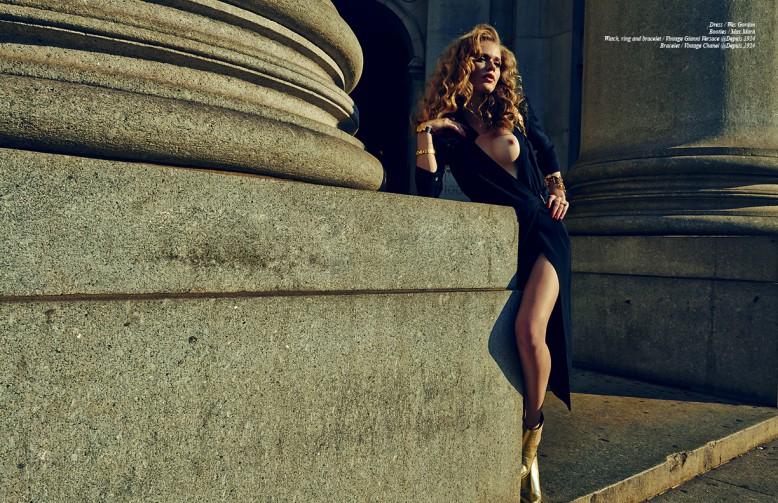 Dress / Wes Gordon Booties / Max Mara  Watch, ring and bracelet / Vintage Gianni Versace @Depuis 1924 Bracelet / Vintage Chanel @Depuis 1924