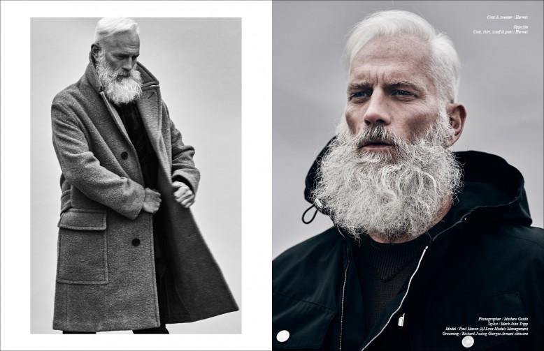 Left/ Coat, shirt, scarf & pant / Hermès Right/ Coat & sweater / Hermès