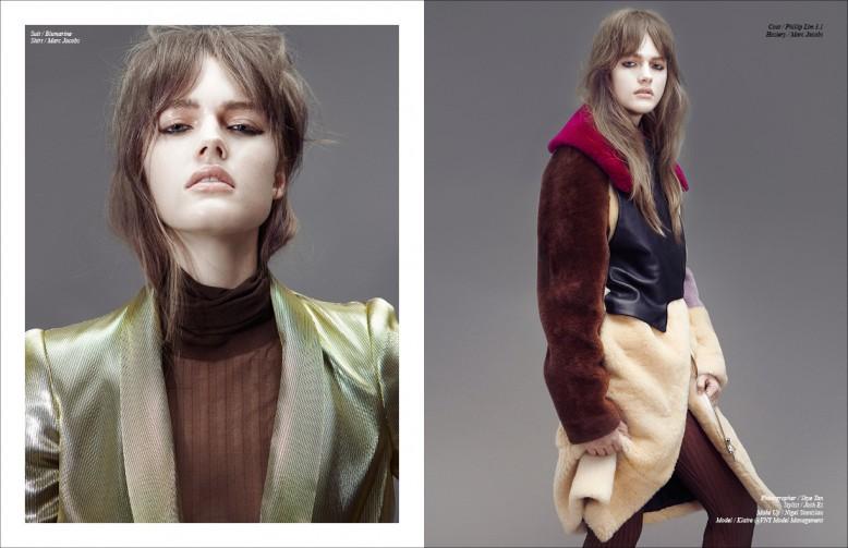 Left Suit / Blumarine  Shirt / Marc Jacobs Right Coat / Phillip Lim 3.1  Hosiery / Marc Jacobs
