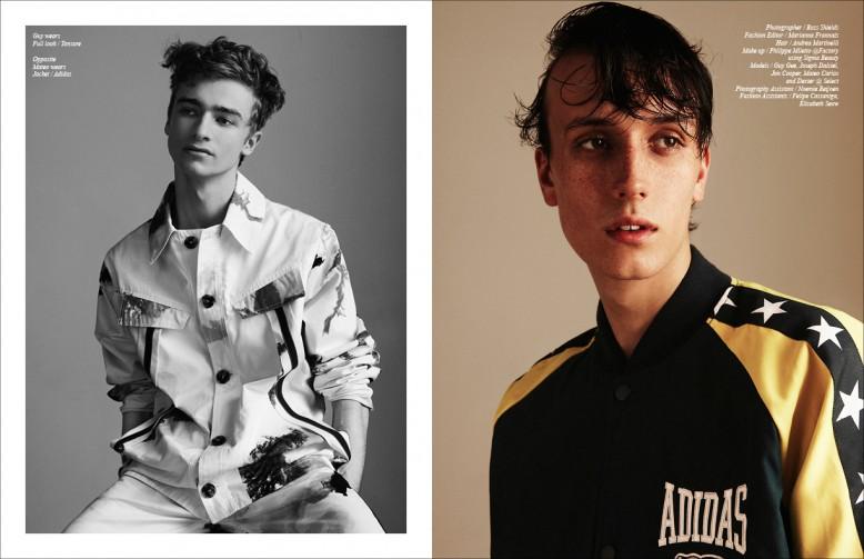 Guy wears Full look / Tonsure Opposite Mateo wears Jacket / Adidas