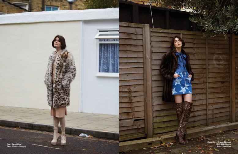 Coat / Gerard Darel Dress & boots / Philosophy Opposite Coat & skirt / Vivienne Westwood Shirt / RedValentino Boots / Jimmy Choo