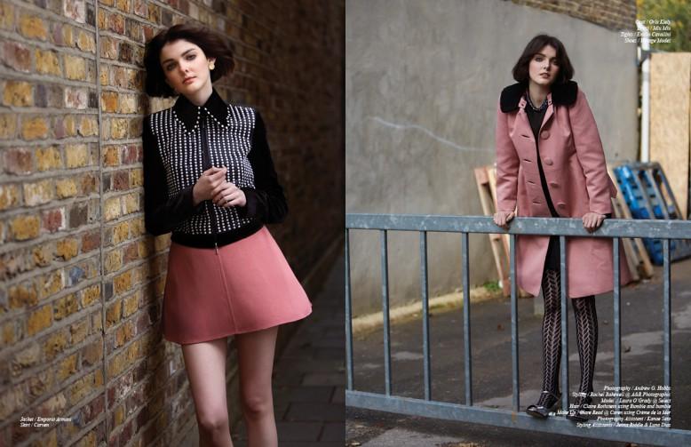 Jacket / Emporio Armani Skirt / Carven Opposite Coat / Orla Kiely Dress / Miu Miu Tights / Emilio Cavallini Shoes / Vintage Modes