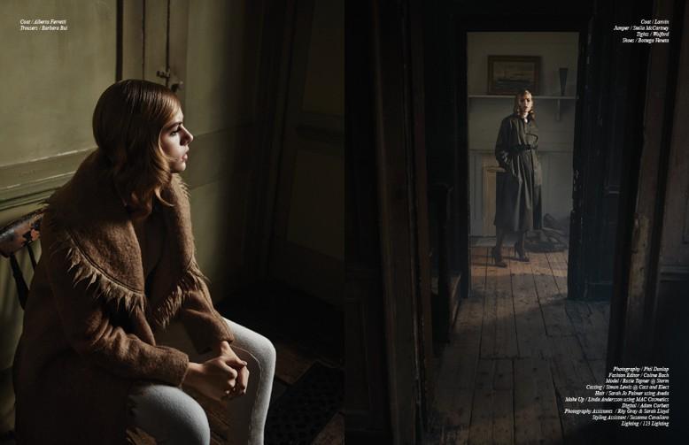 Coat / Alberta Ferretti Trousers / Barbara Bui Opposite Coat / Lanvin Jumper / Stella McCartney Tights / Wolford Shoes / Bottega Veneta