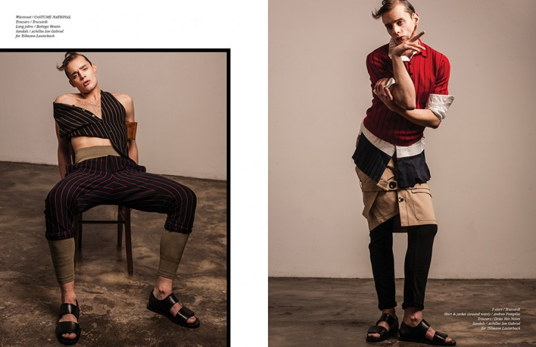 Waistcoat / Costume National Trousers / Trussardi Long johns / Bottega Veneta Sandals / Achilles Ion Gabriel for Tillmann Lauterbach Opposite T-shirt / Trussardi Shirt & jacket (around waist) / Andrea Pompilio Trousers / Dries Van Noten Sandals / Achilles Ion Gabriel for Tillmann Lauterbach