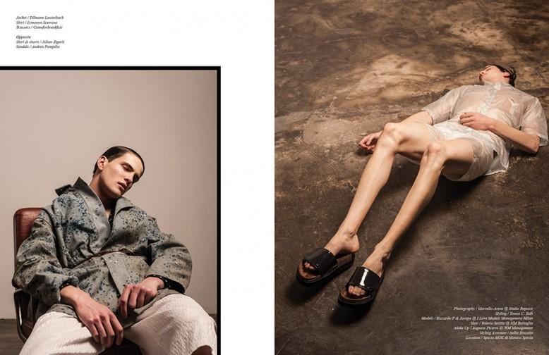 Jacket / Tillmann Lauterbach Shirt / Ermanno Scervino Trousers / Comeforbreakfast Opposite Shirt & shorts / Julian Zigerli Sandals / Andrea Pompilio
