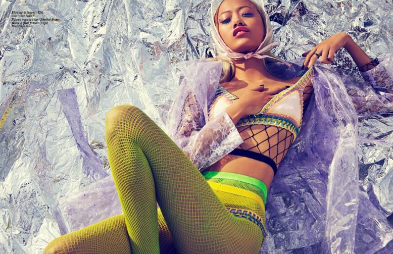 Bikini top & bottoms / Kini, Coat / Chic Feast, Fishnets worn as a top / Jonathan Anston Yellow & green fishnets / Fogal Hat / Tokyo hands.