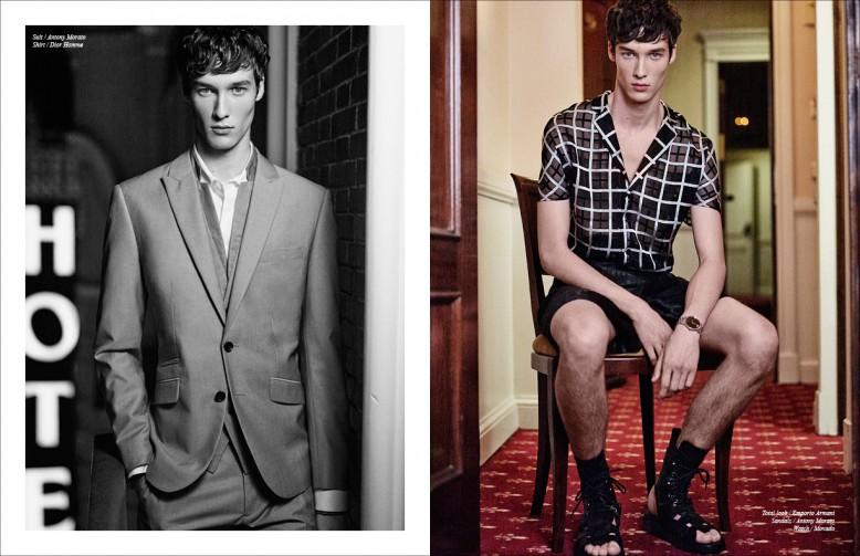 Left Suit / Antony Morato Shirt / Dior Homme Right Total look / Emporio Armani Sandals / Antony Morato Watch / Movado
