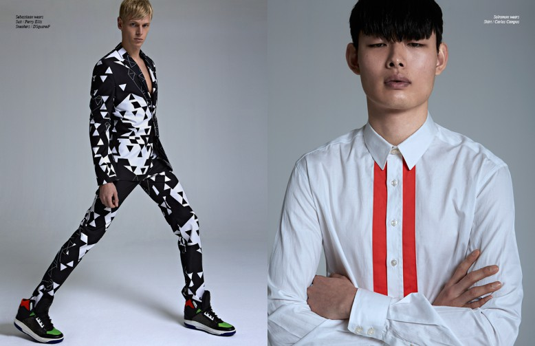 Left Sebastiaan wears Suit / Perry Ellis Sneakers / DSquared2 Right Solromon wears Shirt / Carlos Campos