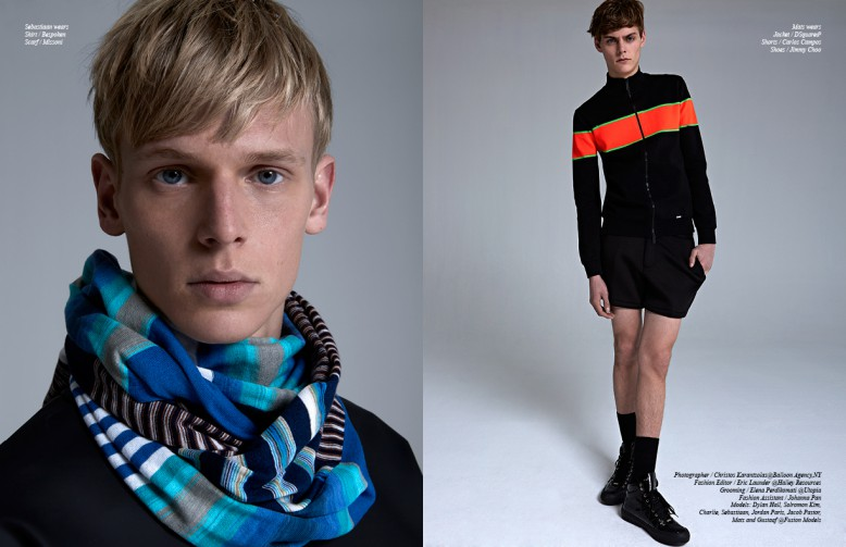 Left Sebastiaan wears Shirt / Bespoken Scarf / Missoni Right Mats wears Jacket / DSquared2 Shorts / Carlos Campos Shoes / Jimmy Choo