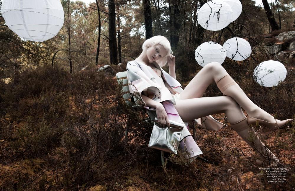 Coat / Kenzo Corset / Serkan Cura Jumpsuit / Ilja Stockings / Falke Shoes / Maison Margiela Bag / SMK