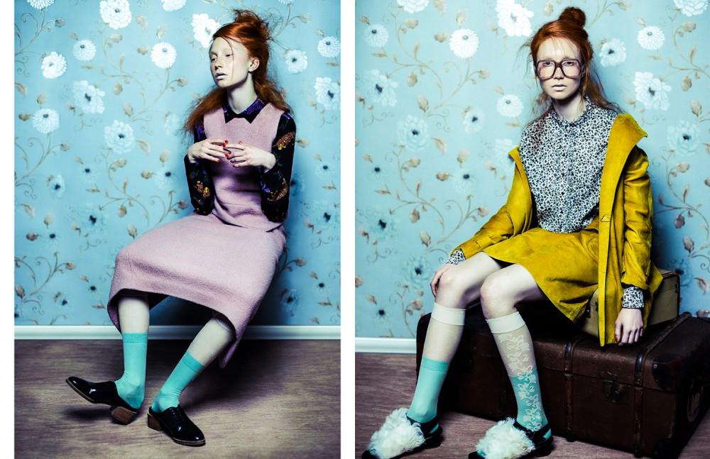 Top & skirt / Tibi Shirt underneath / Stella McCartney Socks & tights / Falke Shoes / 3.1 Phillip Lim Opposite Shirt, jacket & skirt / Topshop Unique Socks & tights / Falke Glasses / Cutler and Gross