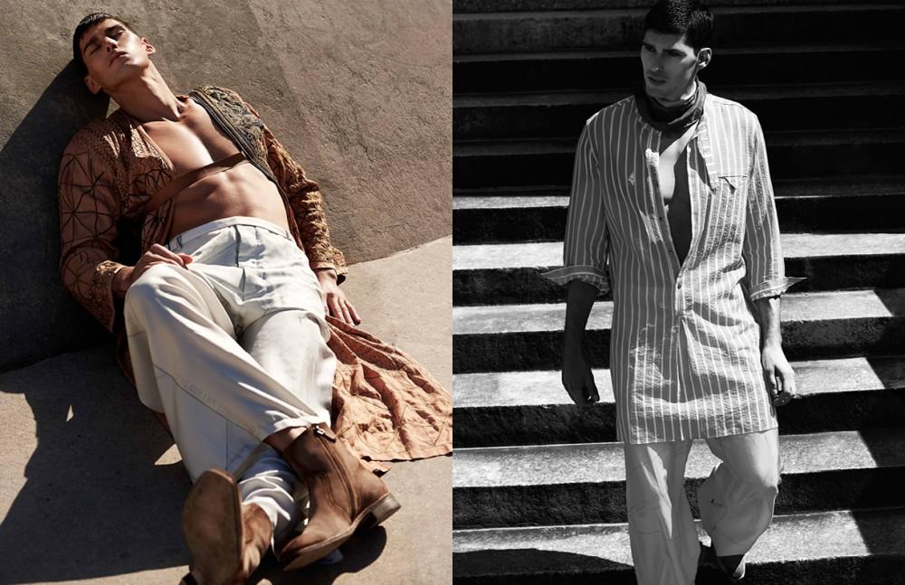 Robe & Harness / Dries Van Noten Trousers / Siki Im Boots / Berlut Opposite Shirt & Trousers / Siki Im Scarf / Ralph Lauren Purple Label Boots / Berluti