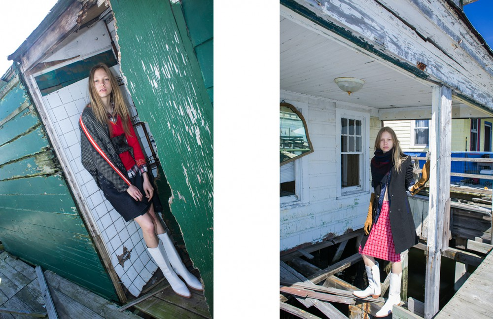 Jacket / Preen by Thornton Bregazzi Sweater / Creatures of the Wind Shirt / Jenni Kayne Skirt / Preen by Thornton Bregazzi Boots / Space Cowboy Opposite Jacket / CG Sweater / Risto Shirt / CG Skirt / Jenni Kayne Boots / Space Cowboy Gloves / KTZ