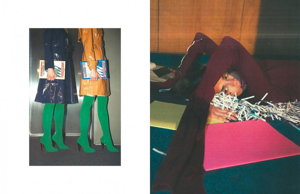 Coat / Martin Grant Coat / Wanda Nylon Shoes / Louboutin Tights / American Apparel Opposite Jumper / Coperni