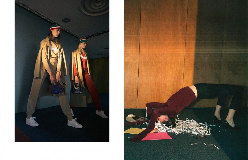 Coats, joggings, sweater & sneakers / Lacoste Bags / Pierre Hardy Headbands / American Apparel Opposite Jumper, trousers, shoes / Coperni