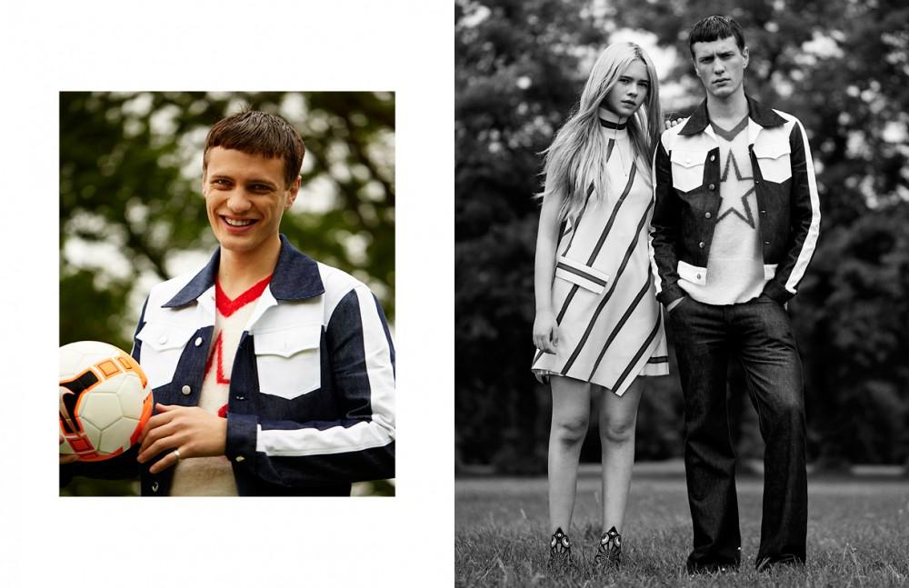Jacket & Jumper / Topman Design Opposite Tia wears  Dress / Lacoste Shoes / Nicholas Kirkwood Ed wears  Jacket, Jumper & Trousers / Topman Design  Trainers / Adidas