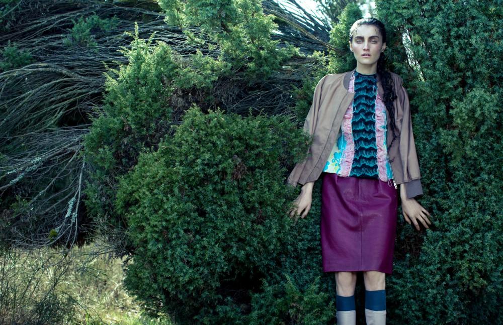 Jacket / Paul Smith  Top & Skirt / Miu Miu  Boots / Tory Burch  Socks / Prada