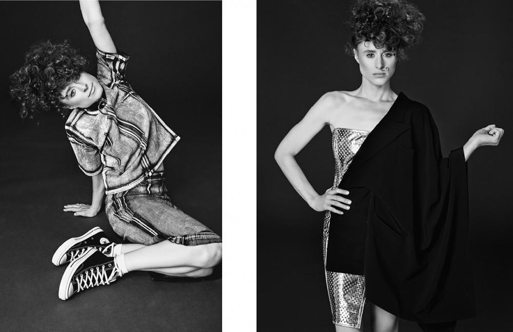 Top & skirt / McQ by Alexander McQueenSocks / FalkeTrainers / ConverseChoker / Zana Bayne Opposite  Dress / Jean Paul Gaultier