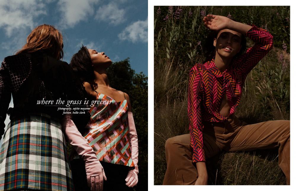 Opposite Sonya wears Blouse / Christopher Kane Skirt / Danielle Romeril Noah wears Top / Antipodium Trousers / Huishan Zhang Gloves / Fyodor Golan Shirt / House of Holland Trousers / Antipodium Boots / Brian Atwood