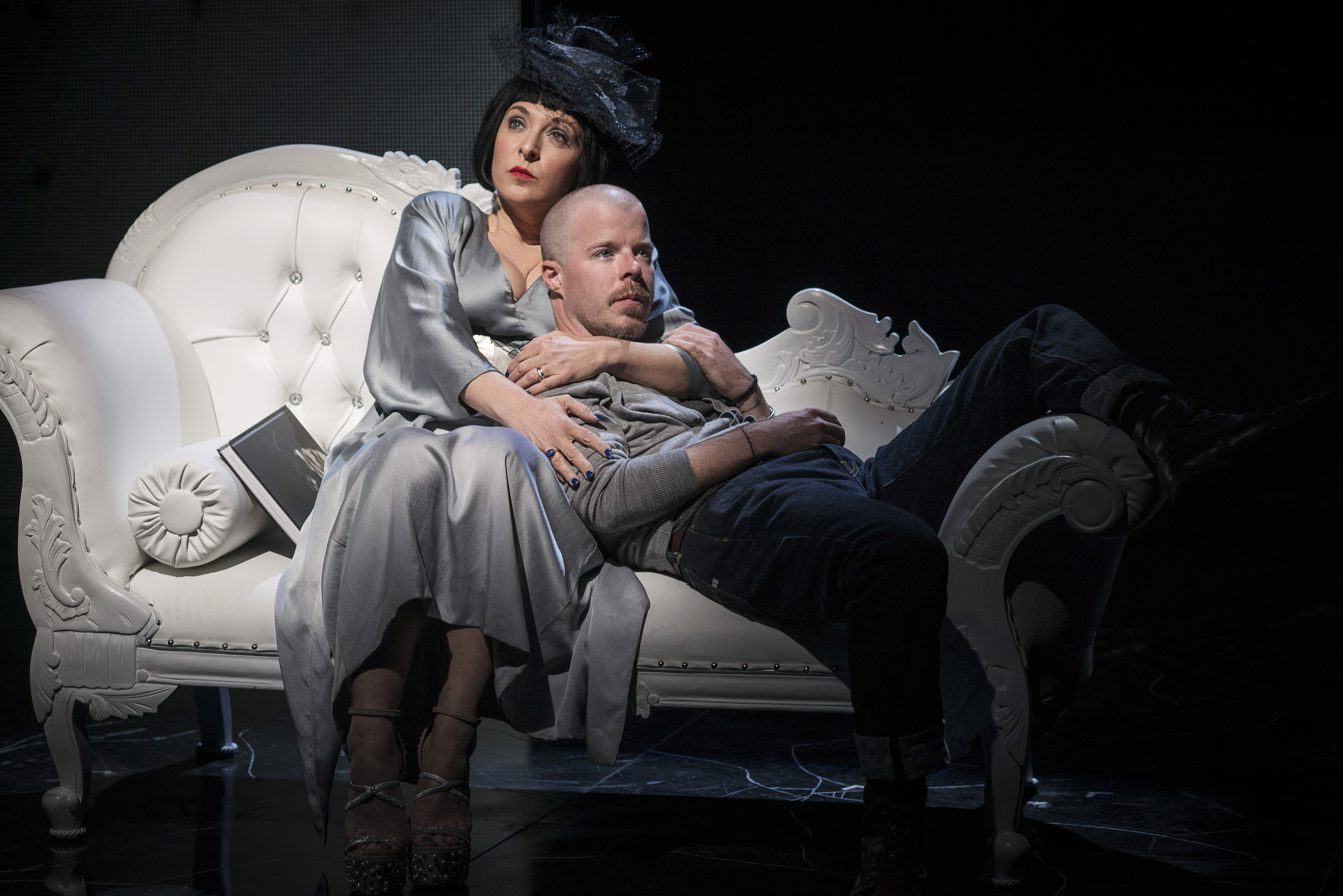 Tracy Ann Oberman as Isabella Blow and Stephen Wight as Lee in McQueen. Specular