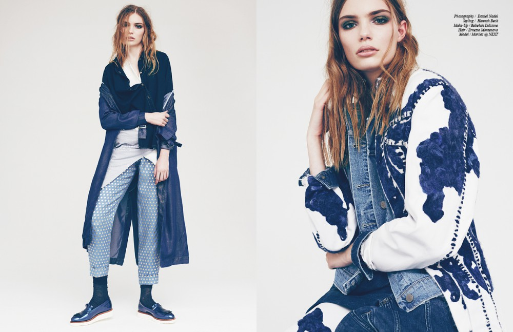 Coat / Supertrash White shirt / 3.1 Phillip Lim Denim Shirt / Mih Jeans Striped Shirt / 21 Men Seen around waist  Trousers / Temperley Socks / Calzedonia Shoes / Grenson Opposite Jacket around waist / Paige Denim  Denim Jacket underneath / Donna Ida Cow  Print Jacket / Faustine Steinmetz