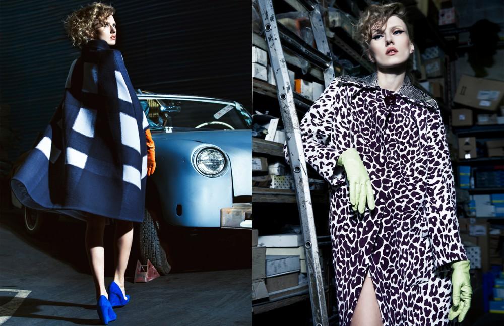Cape / Bottega Venetta Shoes / Nicolas Kirkwood  Gloves / Agnelle Opposite  Coat / Miu Miu Gloves / Agnelle