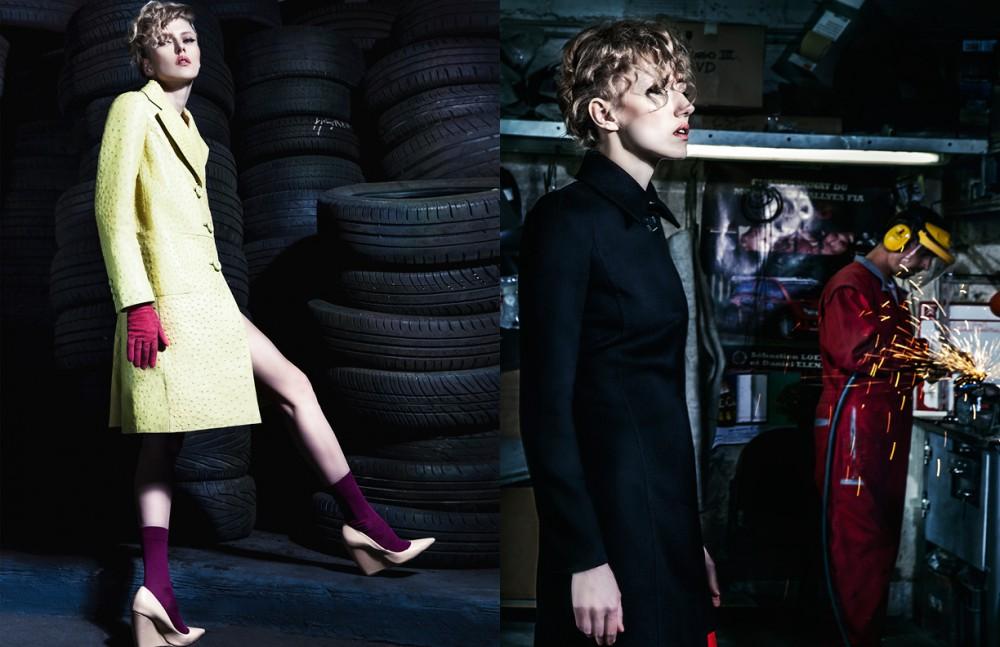 Coat / Prada   Gloves / Agnelle Shoes / Nicolas Kirkwood Socks / Falke Opposite Coat & boots / Versace
