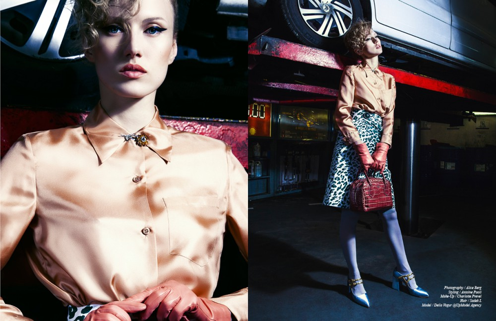 Shirt & broach / Prada  Skirt / MiuMiu Gloves / Agnelle Opposite Bag & shoes / Prada  Tights / Falke