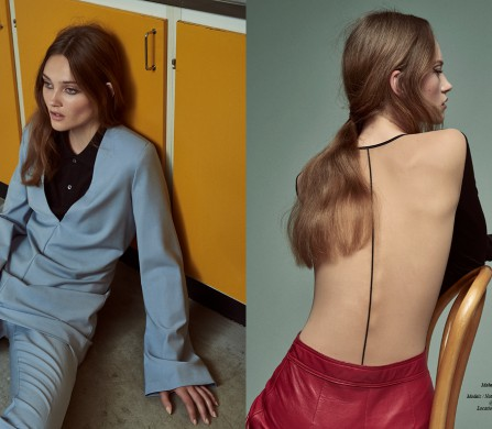 Polo shirt / Acne Studios Top & trousers / Weekday Opposite Bodystocking / Wolford Leather skirt / by Malene Birger