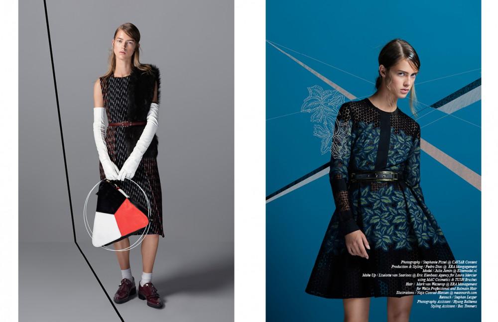 Dress & stole / BOSS Loafers /Avelon Socks / Falke Gloves / Prada Belt / CHANEL Bag / Liselot Frouwijn Opposite Dress / Ellie Saab