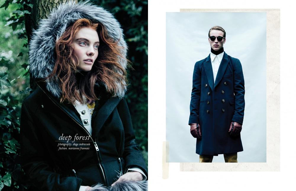 Coat / KUMETH Dress / Peter Pilotto Top / Wolford Opposite Coat / KUMETH Polo neck / Margaret Howell Shirt & trousers / dunhill Sunglasses / Dior Gloves / Richard James