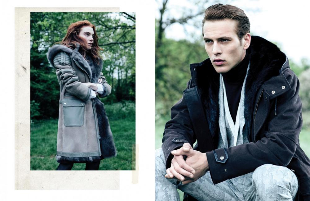 Coat / KUMETH Shirt / Aquascutum Tights / Wolford Opposite Coat / KUMETH Suit / John Varvatos Polo neck / Margaret Howell