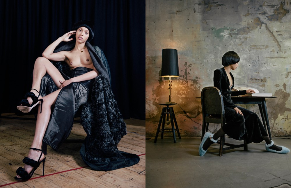 Coat & skirt / James Kelly Shoes / Marco de Vincenzo Necklace / Links of London Opposite Jumpsuit / Temperley London Bra / Zadig & Voltaire Socks / Falke
