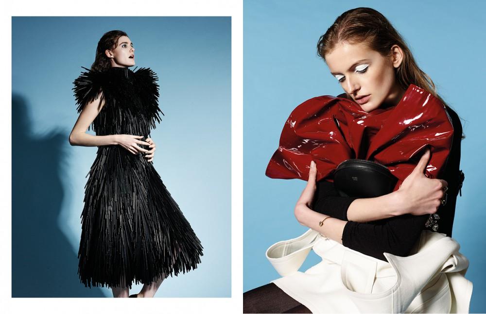 Catherine wears Black straw dress / Gareth Pugh Opposite Sophie wears White dress / Fendi Body stocking / Liberdex PVC skirt / Cenci Vintage London Jewellery / Winterson