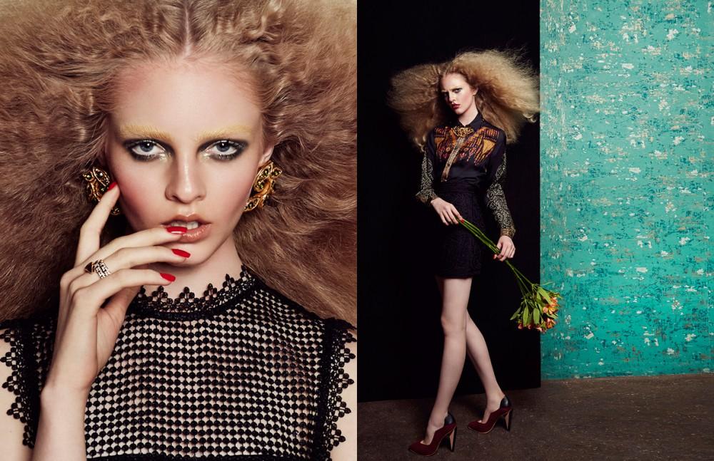 Dress / Self-portrait Earrings / Christian Lacroix Vintage Ring / Bvlgari Opposite Top / Etro Skirt / Maje Necklace / Elizabeth Taylor for Avon Vintage Shoes / Finsk