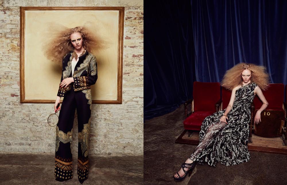 Top / Lanvin Suit / Etro Necklace / Oscar De La Renta Shoes / Finsk Opposite Dress / Matthew Williamson Necklace / Dior Bangles 70s Vintage Rings / Custom Made Shoes / Finsk