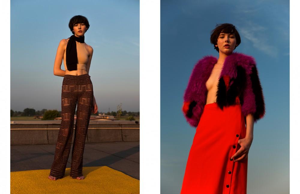 Top / American Appareal Scarf / Ilaria Nistri Trousers / M Missoni Opposite Jacket / Fendi Skirt / Iceberg