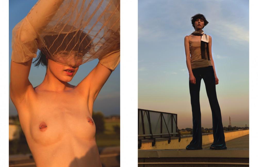 Top / Luisa Beccaria Opposite Scarf / Ilaria Nistri Top / Luisa Beccaria Trousers / Emilio Pucci Shoes / Iceberg