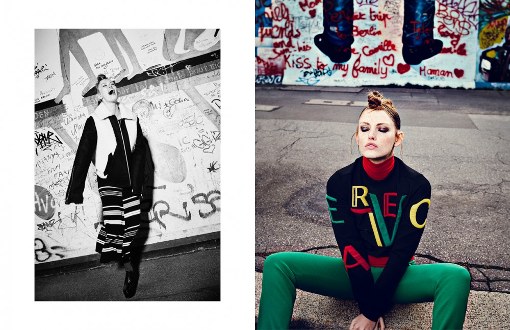 Jacket / Maison Margiela Dress / Kenzo Shoes / &Other Stories Socks / Giorgio Armani Opposite Total Look / Versace
