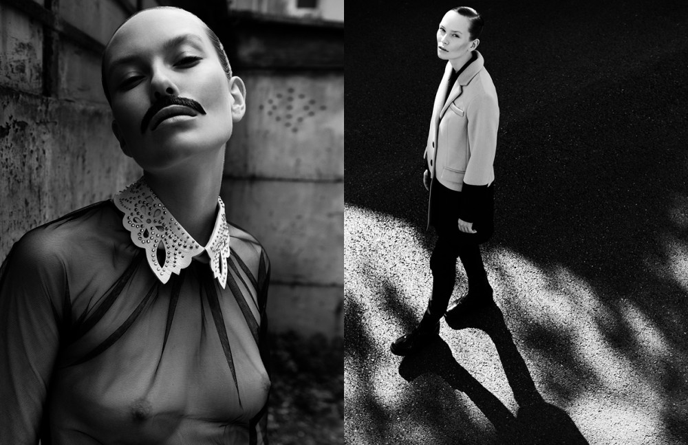 Collar / Valentino Top / MSGM Opposite Coat & blouse / Tenax Trousers / AD Collection Shoes / Cristiano Burani