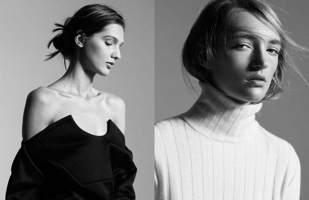 Ana Gilca @Wilhelmina London wears Martine Jarlgaard Dress / Les Copains SS16 Opposite Emily Bostock @IMG London wears Ming / MM6 by Maison Margiela SS16