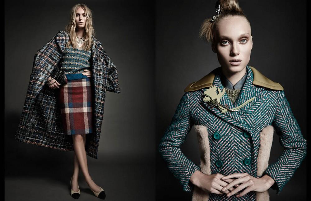 Vest, skirt, coat, necklace, bracelets, bag & shoes / Chanel Opposite Shirt, jumper, coat, brooch & barrette / Prada