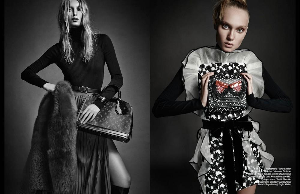 Jumper / Hermès Skirt, coat & boots / Escada Bag & bracelet / Louis Vuitton Belt / Christian Dior Opposite Jumper / Hermés Dress / Oscar de la Renta Clutch / Yliana Yepez