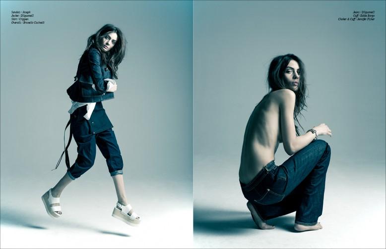 Sandals / Joseph Jacket / DSquared2 Shirt / Crippen Overalls / Brunello Cucinelli Opposite Jeans / DSquared2 Cuff / Eddie Borgo Choker & Cuff / Jennifer Fisher