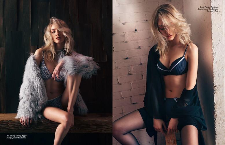 Bra & thong / Tommy Hilfiger Fake fur jacket / H&M Trend Opposite Bra & Panties / Passionata Dressing gown / One Teaspoon Stockings / Falke