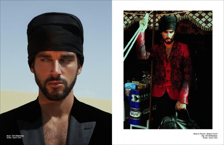 Left Blazer / Dirk Bikkembergs  Turban / Stylist's Own Right Blazer & Trousers / Roberto Cavalli Bag / Dirk Bikkembergs
