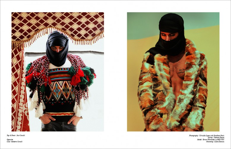 Left Top & trousers / Just Cavalli Right Coat / Roberto Cavalli