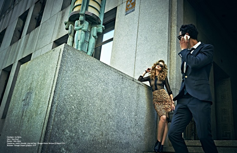 Cardigan / La Perla Skirt / Tom Ford Booties / Max Mara Sunglasses, watch, bracelet, ring and bag / Vintage Gianni Versace @ Depuis 1924 Bracelet / Vintage Chanel @Depuis 1924