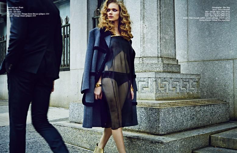 Dress and coat / Prada Panties / La Perla Boots / Max Mara Watch and bracelet / Vintage Gianni Versace @Depuis 1924  Bracelet / Vintage Chanel @Depuis 1924