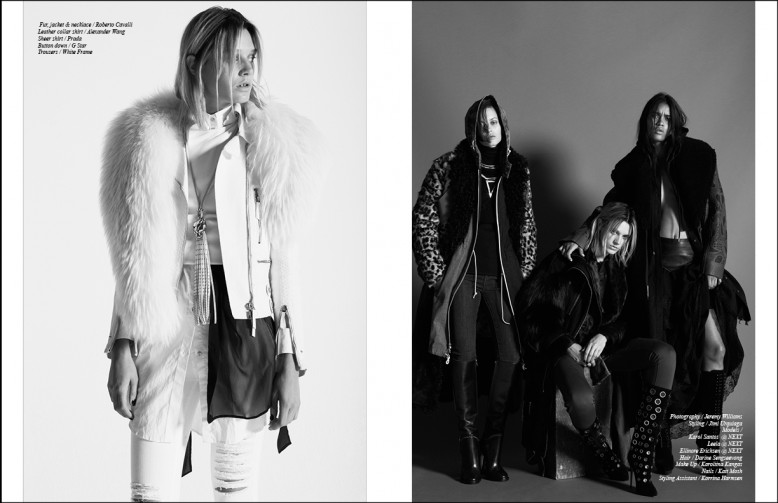 Left Fur, jacket & necklace / Roberto Cavalli  Leather collar shirt / Alexander Wang  Sheer shirt / Prada Button down / G Star Trousers / White Frame
